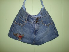 Blue Denim Mini Skirt Purse