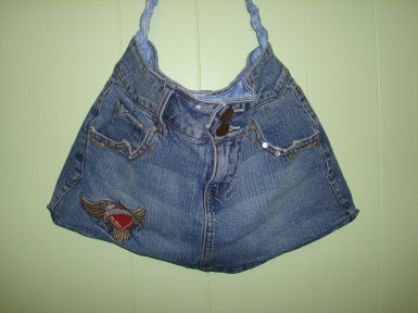 Blue Denim Mini Skirt Purse