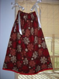 Red and Brown Pillowcase Dress