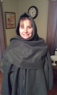 Celtic Cape with hood up