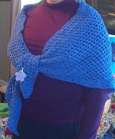 Blue Crochet Triangle Cowl