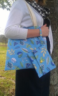 Cotton Canvas Tote with Interior Pocket-Blue Leaves Fabric with Matching Wristlet