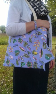 Cotton Canvas Tote with Interior Pocket-Lavender Leaves Fabric and Matching Wristlet