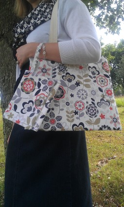 Cotton Canvas Tote with Interior Pocket-Orange and Gray Flowers Fabric and Matching Wristlet