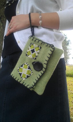 Refashioned Light Green Felted Wristlet with Cotton Lining