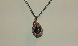 Garnet Copper Wire-Wrapped Pendant