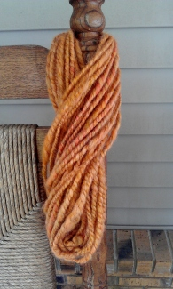 Here is the skein of my first handspun two-ply wool yarn.   I'm fairly happy with the result.