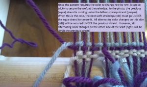 Log Cabin 7 Securing Purple Yarn Left Side Under